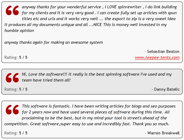 SpinRewriter Testimonials